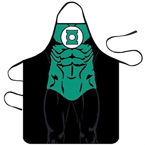 Mediffen Lustige Küchenschürze Unisex Muscle Male Schürzen Creative Cartoon Schürzen, Black 10-Green Lantern, - Green Superman Kostüm
