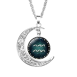 s.bloomy Women's DIY 12 Constellation Necklace Time Gemstone Crescent Aquarius