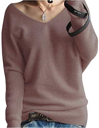 LinyXin Cashmere Damen Winter Kaschmir übergroße Pullover lose V-Neck Fledermausärmel Warm Gestrickter Oversize Pullover aus Wolle (S / 38-44, Braun)