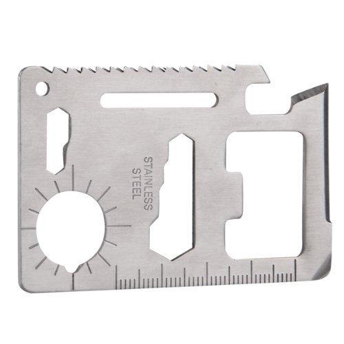 11 in 1 Multi-Tool Multifunktion Camping Karte Werkzeug Kreditkarte-Messer Saber im Scheckkartenformat für Outdoor Unterwegs Edelstahl