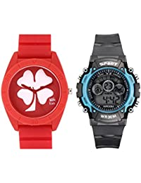 Fantasy World Red Watch And Sport Watch Combo For Boys And Girls - B0789V5ZWS