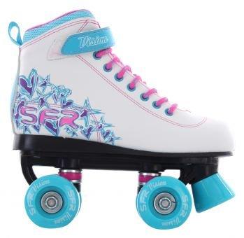 SFR Vision II Rollschuhe Disco Roller Kinder weiß-pink-purple white-blue, 37 -