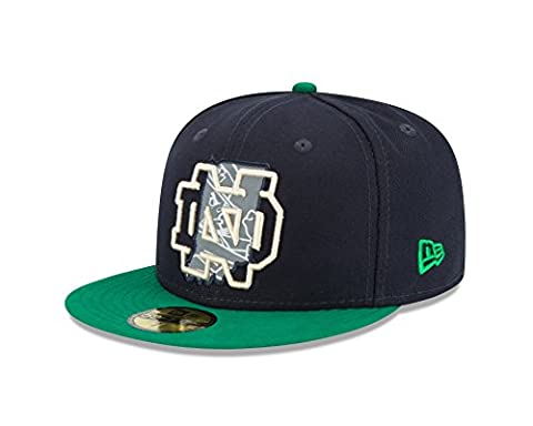 NCAA Notre Dame Fighting Irish State Flective Redux 59FIFTY Fitted Cap, 7.25, Blue