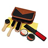 Kit per la cura delle scarpe,Bloomma Kit da viaggio con spazzolino da scarpe da 8 pezzi per scarpe in pelle,borsa,cappello,cintura