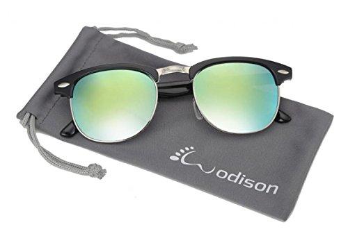 WODISON Retro Halbrahmen umrandeten Sonnenbrille vor UV-Schutz (Black Frame und gelbe Mischung Grün Len)