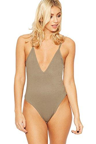 WEARALL Damen Ebene Leibchen V Hals Strecke Ärmellos Strappy Trikot Damen Bodysuit - 5 Farben - Größe 36-42 Mokka