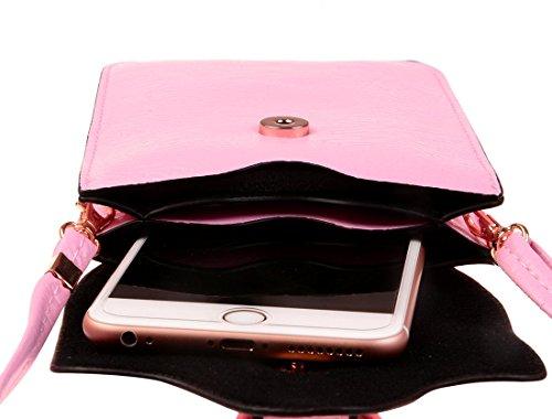 KISS GOLD(TM) Mini Pochettes de Téléphone Portable pour femme/fille 11.43*1.27*16CM(Modèle B-Beige) Modèle A-Rose clair