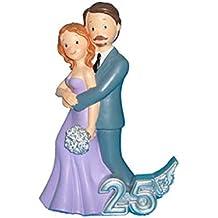DISOK - Figura Pastel 25 Aniversario Abrazo - Figuras para el Pastel Tartas Bodas de Plata Aniversarios Baratas