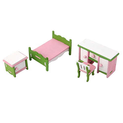 Magideal Dollhouse Miniature Furniture Wooden Toy Kids Bedroom Set  available at amazon for Rs.275