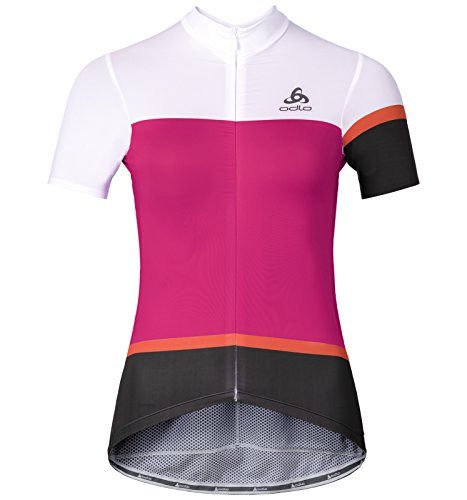 Odlo Damen Trikot Stand-up Collar s/s Full Zip Kamikaze White/Beetroot Purple, XXL