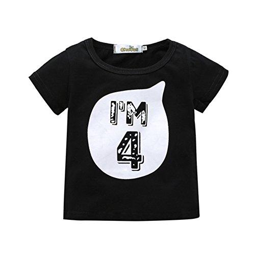 Blaward Unisex Mädchen Jungen Geburtstag T-Shirt Kurzarm Tops Brief Gedruckt Sommer Kleidung 0-6Jahre