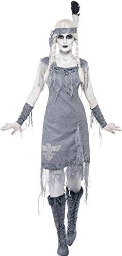 Smiffys, Damen Geisterhafte Indianerprinzessin Kostüm, Kleid, Stirnband und Armstulpen, Größe: M, (Uk Indianer Damen Kostüm)