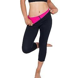 Pantalones Sauna Deportivo Mujer Yoga Leggings de Alta Cintura Elásticos y Transpirables para Running Fitness con Gran Elásticos y Seca Rápido #2 Negro & Rojo 2X-Large