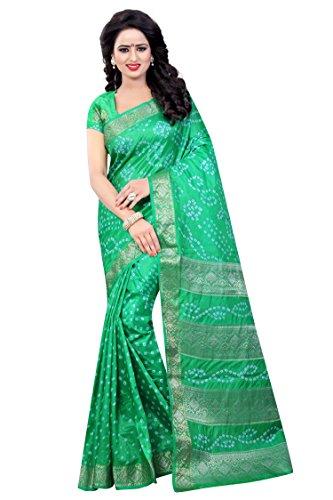 Concepta Women's Silk Bandhani Saree (Parrot_Free Size)
