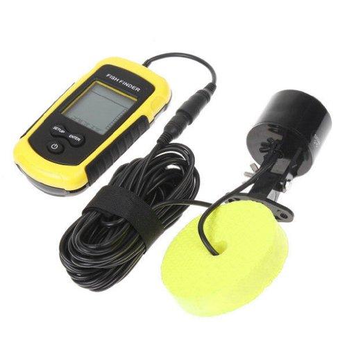 Dcolor 100M de profundidad Buscador de los pescados del LCD del sensor del sonar del transductor de alarma Fishfinder Portable