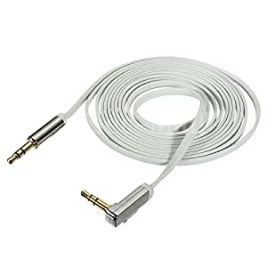 Generic 2m 3.5mm TPE Car Aux Auxiliary Stereo Audio Cable Cord 90° for Phone iPod MP3 PC (Color:White)