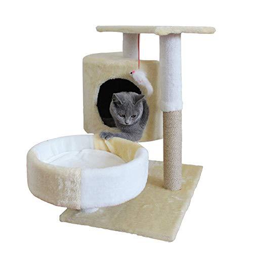YNPGHG Katze Klettergerüst, Kätzchen Spielhaus mit Sisal-Kratzbäumen, Plüsch Sitzstangen, Korb und Eigentumswohnungen, Cat Tower Möbel, 27 Zoll groß,Beige -