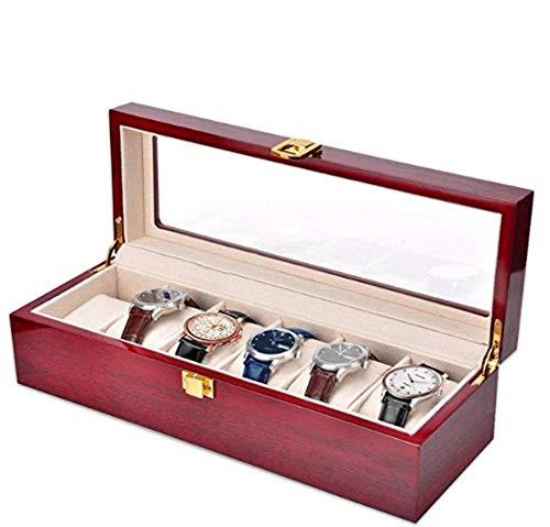 Hcwlxjy Holz Klavierlack 6 Slots Uhrengehäuse Display Aufbewahrungsboxen Uhrenhalter mit abnehmbaren Uhrenkissen Schmuck Display für Männer Frauen Geschenke