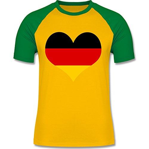 EM 2016 - Frankreich - Deutschland Herz - zweifarbiges Baseballshirt für Männer Gelb/Grün