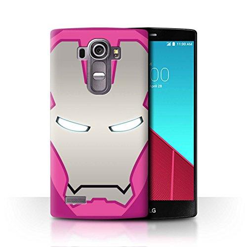 für LG G4 Beat/H735 / Rosa/Silber Roboter Muster/Superheld-Helm Kollektion ()