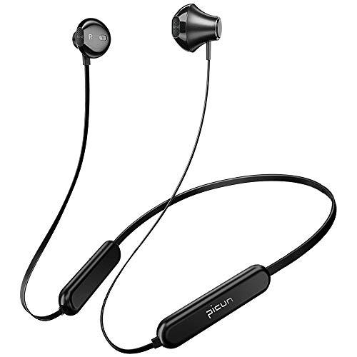 Bluetooth Kopfhörer, Picun 20 Stunden Spielzeit In Ear Ohrhörer mit Mikrofon, Bluetooth 5.0 Sportkopfhörer IPX5 Wasserdicht, Noise Cancelling Mikrofon Fitness Headset für iOS Android - Schwarz