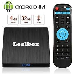 Leelbox TV Box Android 8.1【4GB+32GB】 Q4s Boîtier TV RK3328 Quad Core 64 bit Smart TV Box, Wi-FI integrato, BT 4.1, Box TV UHD 4K TV, USB 3.0 [2019 Dernière Version]