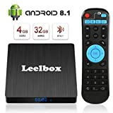 Android 8.1 TV Box - Leelbox Smart TV Box Q4 S 4 GB RAM & 32 GB ROM, Quad Core 64 bit Android Box Wi-Fi integrato/BT 4.1/ Box TV UHD 4K TV/USB 3.0 Media Player, Android Set-top-Box