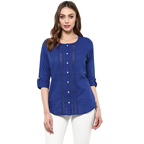 Avaana Royal Blue Cut and Sew Cotton-Slub Short Kurta (50000171-Royal Blue-M)
