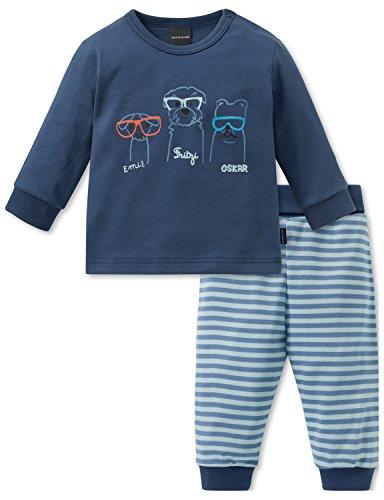 Schiesser Jungen Zweiteiliger Schlafanzug Cool Dogs Baby Anzug 2-teilig, (Blau 800), 80