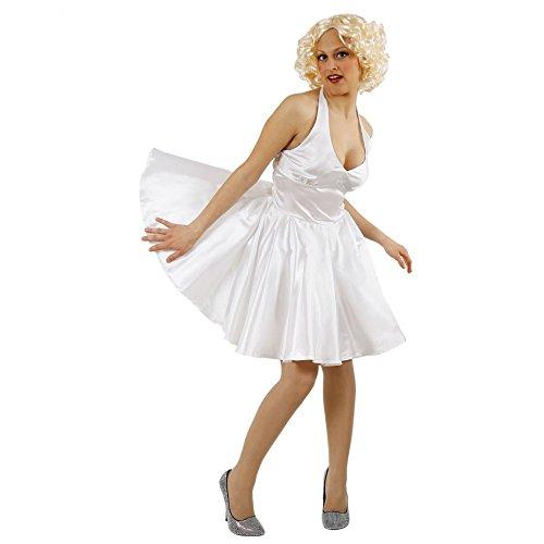 Hollywood Star Kostüm - Marilyn Kostüm Kleid weiß Hollywood Schauspielerin Fasching Ikone Filmstar (XXL)