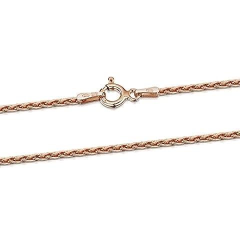 Amberta® Bijoux - Collier - Chaîne Argent 925/1000 - Plaqué Or Rosé 14K - Maille Spiga - Largeur 1.7 mm - Longueur 40 45 50 55 60 cm (50cm)