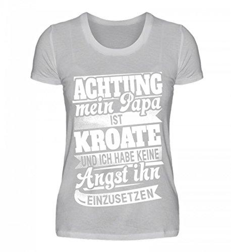 Shirtee Hochwertiges Damen Organic Shirt - Kroatien Shirt/Achtung Mein Papa Kroate Keine Angst Ihn Einzusetzen/Hrvatska Grau (Meliert)