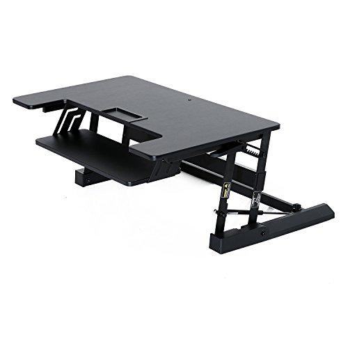 HOMCOM Bureau Ordinateur/Informatique Assis Debout Sit Stand Workstation Hauteur Réglable avec Plateau de Clavier Noir