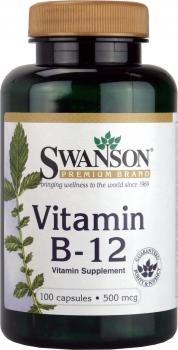 Swanson - Vitamine B12 (Cyanocobalamine) 500mcg, 100 gélules - Comlément Alimentaire Bio-Actif (Vitamin B-12 capsules - Cyanocobalamin Supplement)