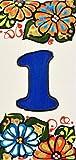 """ART ESCUDELLERS Numero civico casa. Numeri e Lettere Fatte di Piastrelle di Ceramica, Fatte e dipinte a Mano per Nomi indirizzi e segnaletica. Disegno Jardin 14,5 cm x 7 cm. (Numero Uno 1"""")"""
