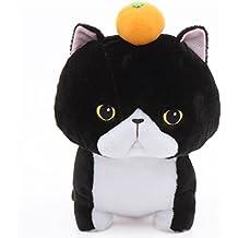 Gran gato de peluche negro blanco con naranja Noseteru Munchkin de Japón
