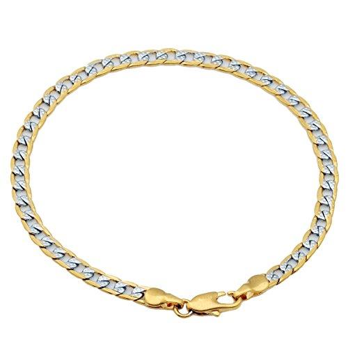 Trendsmax Uomini barbozzale cubano braccialetto placcato oro Wristband argento oro tono, 4 mm larga