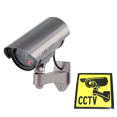 Ex-Pro® Silber Schwarz Solar Akku Speed Dummy Fake-CCTV Sicherheit Kamera Kamera mit Solar Pannel für Blitz LED, IR-Flächenvorhang
