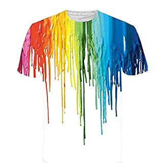 Rxbc2011 Men's Clothing Rainbow Watercolor Paint Short Sleeve T Shirt L Multicolor