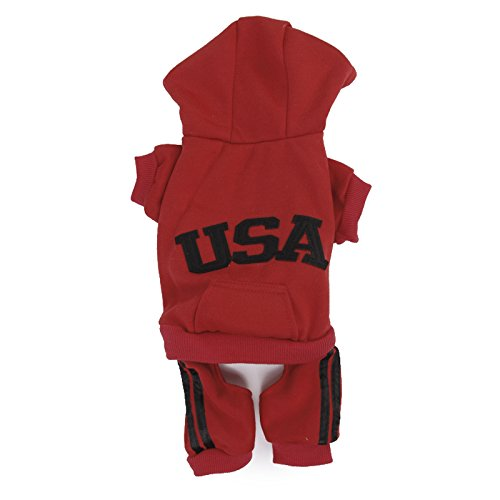 Imported USA Cotton Coat Jacket Hoodie Jumpsuit Small Boy Girl Dog Clothes XL Red