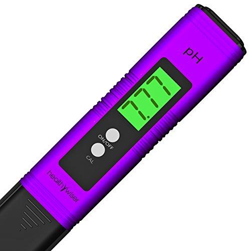 HealthyWiser digitaler pH-Meter + Extra-Set mit pH-Puffer-Puder, pH-Stift testet Wasser, Aquarien, Pools, Hydrokulturen, mit Taste zur automatischen Kalibrierung, Skala von 0,00-14,00, lila Test