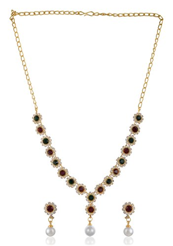 Stunning Queen Gold Plated Strand Necklace Set for Women (SQ062)  available at amazon for Rs.449
