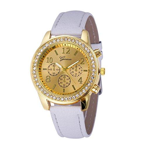 Damen Uhren, Kingwo neue Faux Chronograph Quarz Classic Runde Damen Damen Kristalle Uhr (H)