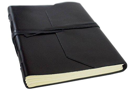 Indra Notizbuch handgefertigt mit Ledereinband Schwarz Large, blanko Seiten (21cm x 15cm x 2cm)
