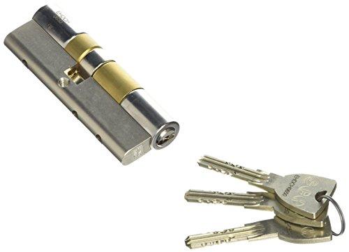 WINKHAUS XT01N 40+50 EHD hochwertiger, profesioneller Einbaudoppelzylinder key Tec X-tra für Schlößer mit Profilzylinder, 40/50, Messing vernickelt matt,
