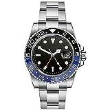 Bliger 40 mm GMT Master Sapphire Crystal Blue & Black Lunetta in acciaio inox orologio automatico da uomo