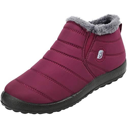 JOINFREE Warme Winterschuhe wasserdichte Oxford Tuch Schnee Stiefel Outdoor Boots für Frauen Weinrot, 37 EU Schnee Schnee Boot