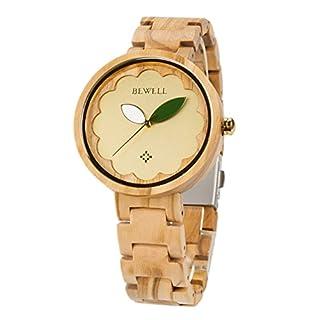 RUNACC Damen Holz Uhr Vintage Quarzuhren Stilvolle Armbanduhr mit Faltschließe (BRAUN)