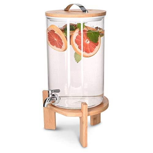 Navaris Dispensador de Bebidas de Cristal - con Capacidad para 7 litros y Grifo - con Soporte y Tapa de Madera para Bebidas Calientes o frías