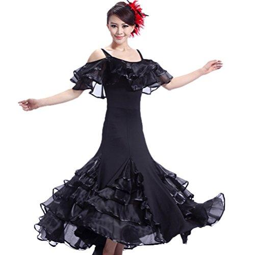 Schultergurte Modern Ballroom Dance Kleider für Damen Performance Tanzende Kleidung Lotusblatt Kragen Große Schaukel Walzer Tango Übe Kostüme, Black, XXXL